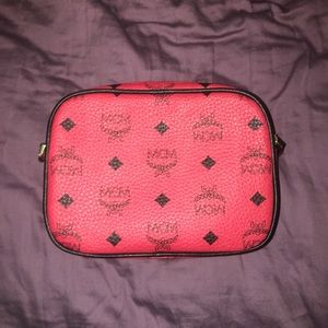 RED MCM PURSE WITH LEATHER STRAP NEVER USED
